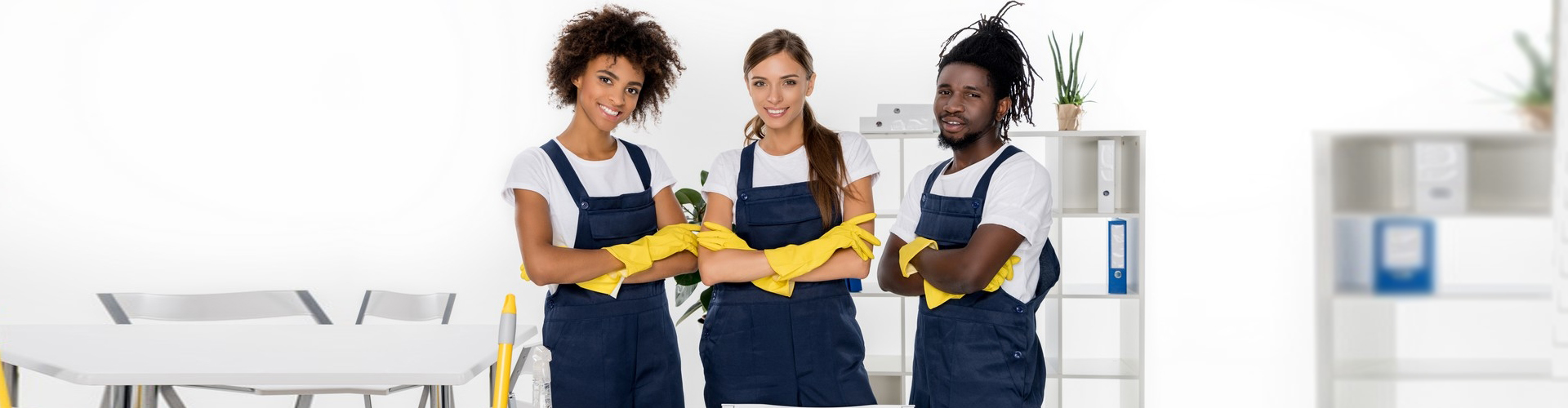 a group of cleaning services personnel