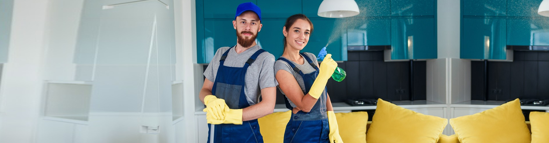 cleaning services workers smiling